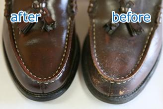 ビジネスマンやビジネスウーマンにとって毎日愛用する靴はとても大切なものです。 革のビジネスシューズも「クレンジング+クリーム仕上げ+全体補色」で見違えるよう